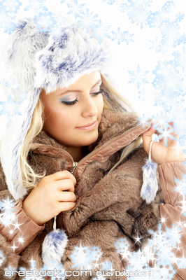portrait of lovely beauty in winter clothes wi...